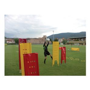 Sagoma allenamenti Calcio BARRET Rossa morbida in telo pvc forato antivento su 2 paletti in pvc h 170 cm