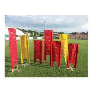 Sagoma allenamenti Calcio BARRET morbida in telo pvc forato antivento su 2 paletti in alluminio h 170 cm